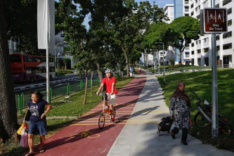 New red cycling paths open in Bedok