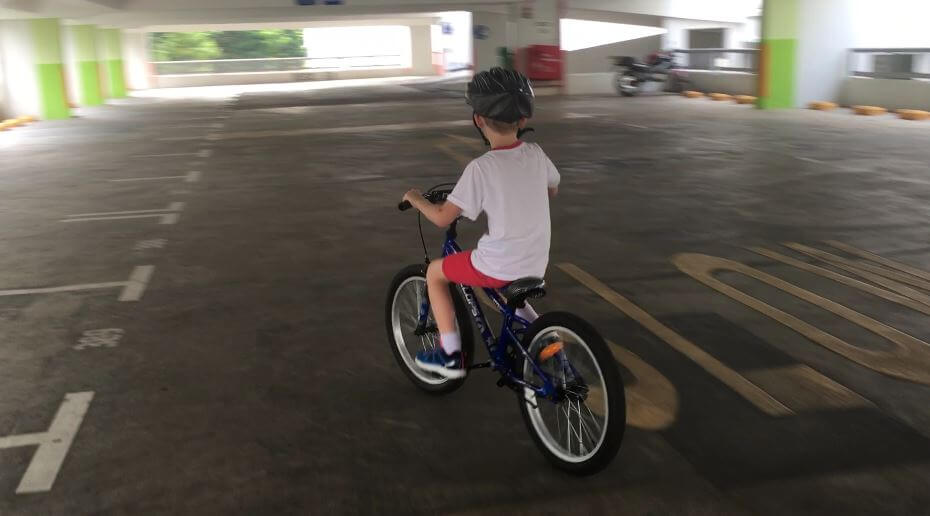 He loves to cycle and even asks to have again lessons to learn new tricks !