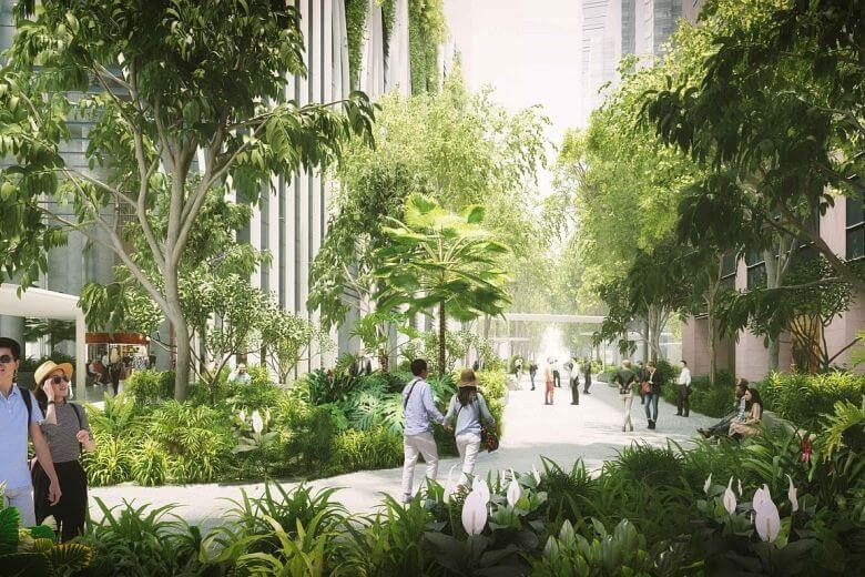 Public park, new cycling paths in Raffles Place